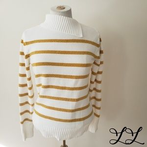 English Factory Sweater Turtleneck Top White Gold